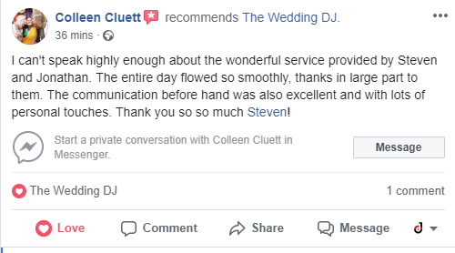 I can't speak highly enough about the wonderful service provided by Steven and Jonathan. The entire day flowed so smoothly, thanks in large part to them. The communication before hand was also excellent and with lots of personal touches. Thank you so so much Steven!